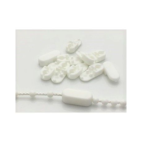 10 pc Connector for ball chain 4.5 in plastic white